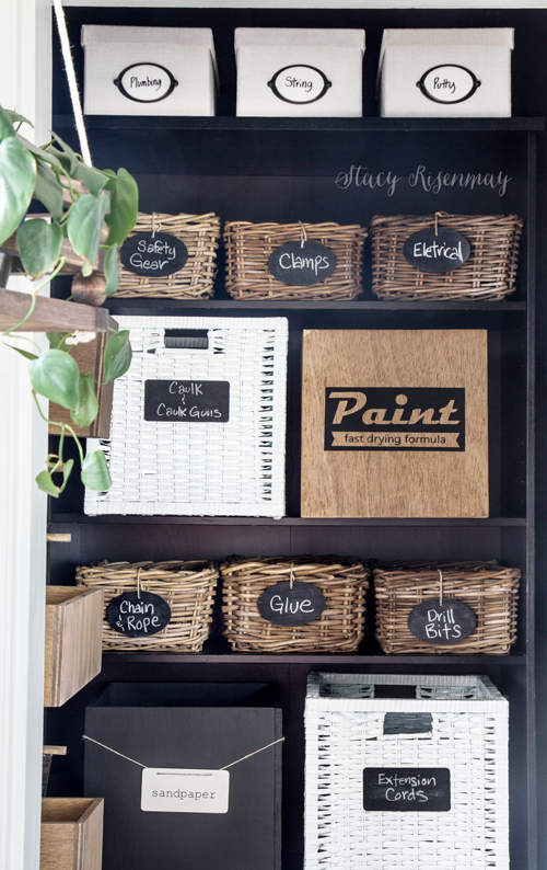 office closet makeover with boxes and baskets and pegboard!