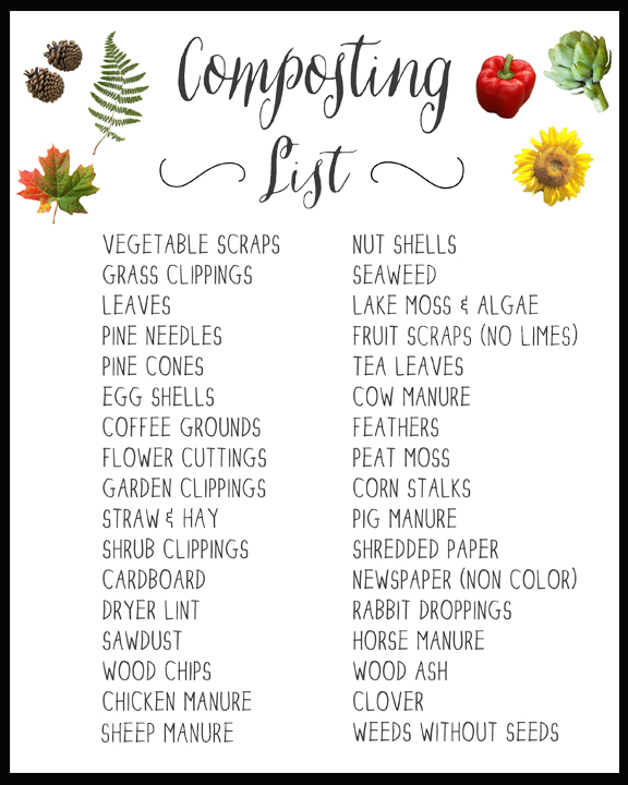 composting list - printable