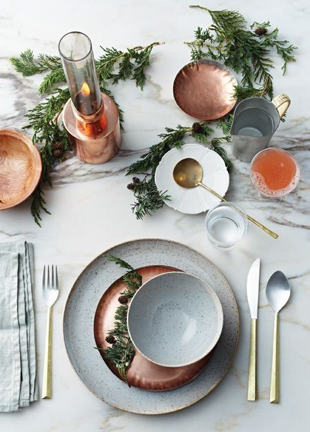 mixed metals tablescape
