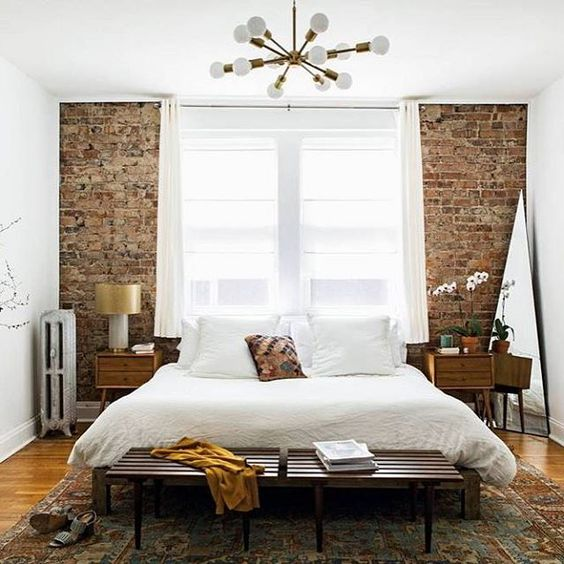 brick wall bedroom