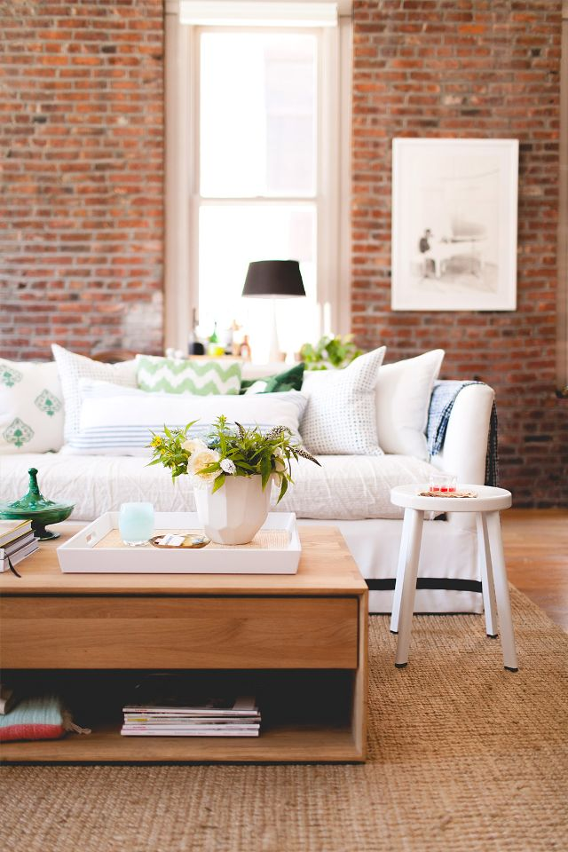 exposed brick in the living room