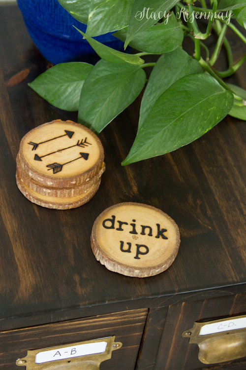Wood burned drink coasters