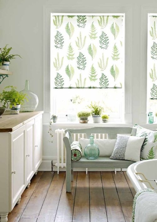 botanical curtains in kitchen