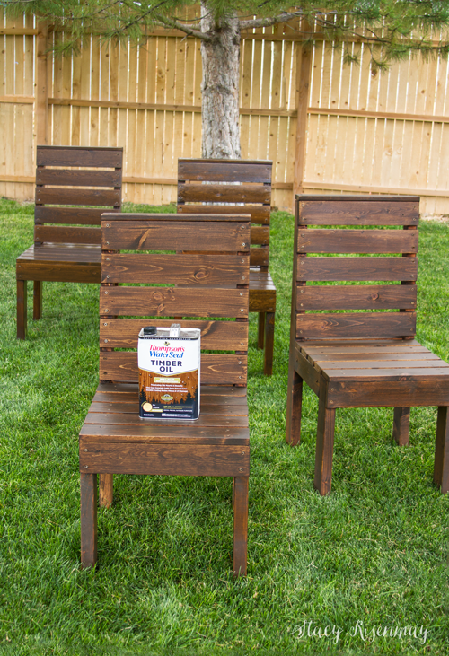 Outdoor chairs stained with Thompson's WaterSeal