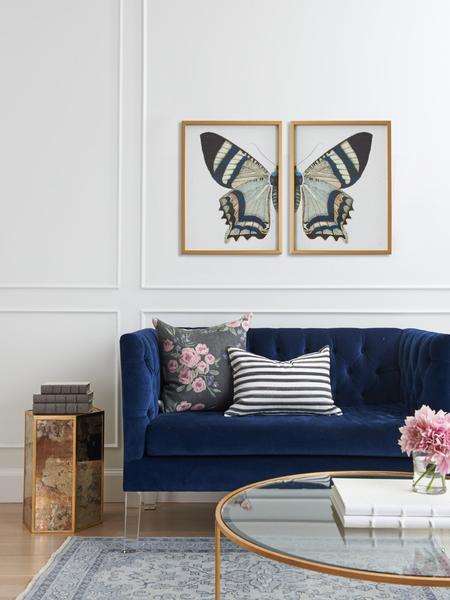 navy velvet sofa