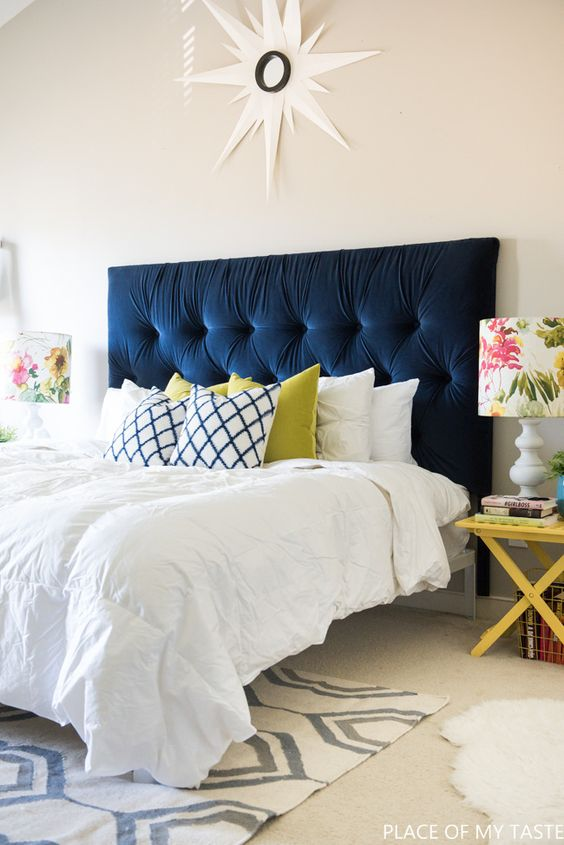 navy velvet tufted headboard