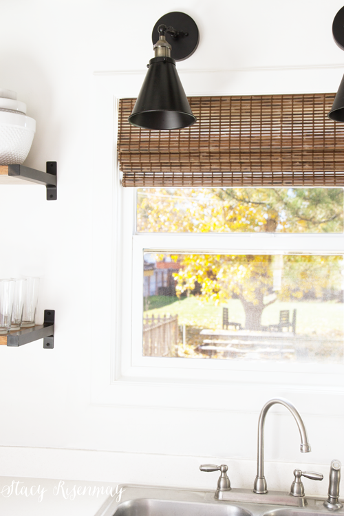 natural bamboo blinds warm up the space