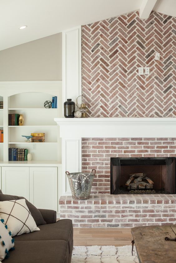 herringbone brick fireplace