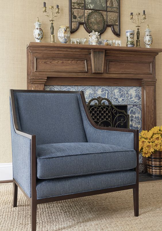 herringbone fabric chair