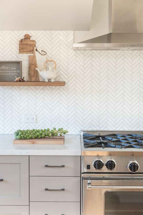 herringbone backsplash