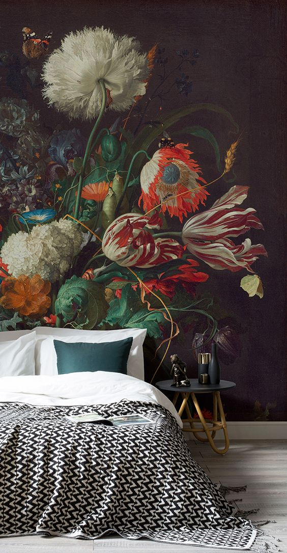 dark floral wall mural
