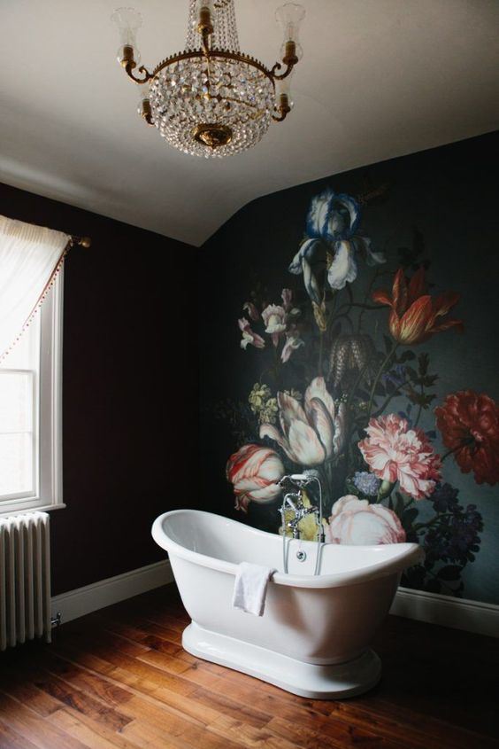 floral wall paper mural