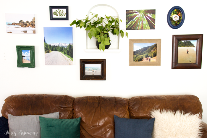 gallery wall of nature prints