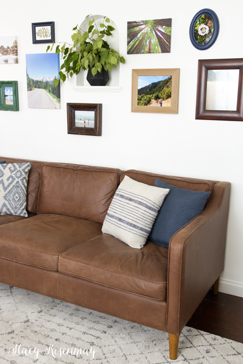 brown leather sofa in family room