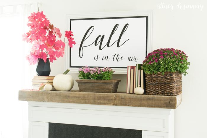 fall decor for the mantel