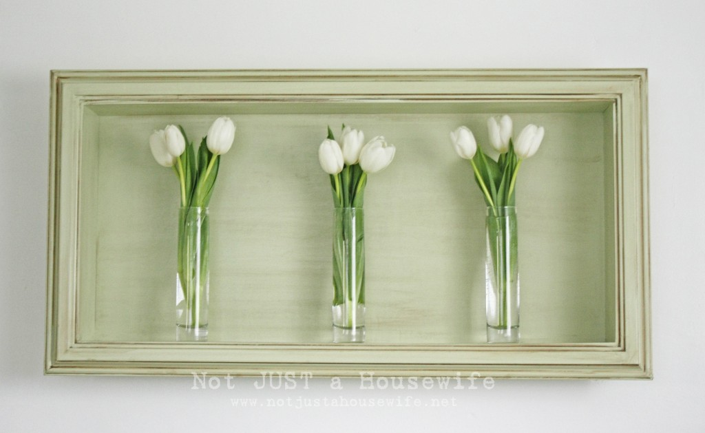Shadow box with vases