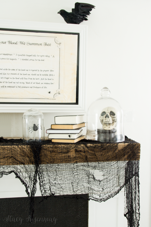 Halloween Mantel with crows and spiders