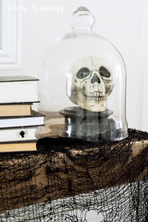 Skull on Halloween mantel
