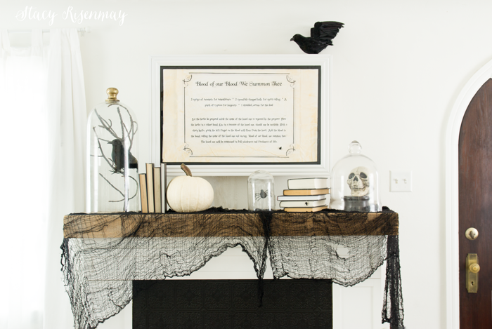 Black and white mantel for Halloween