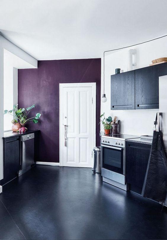 purple wall in kitchen