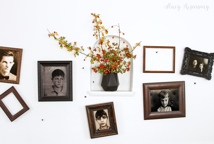 Creepy gallery wall with old photos
