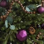 Christmas Tree With Plum Ornaments