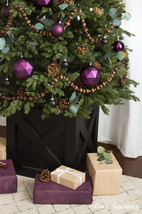 Plum Christmas ornaments and wrapping paper