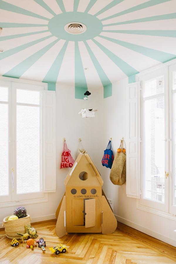 painted ceiling in playroom
