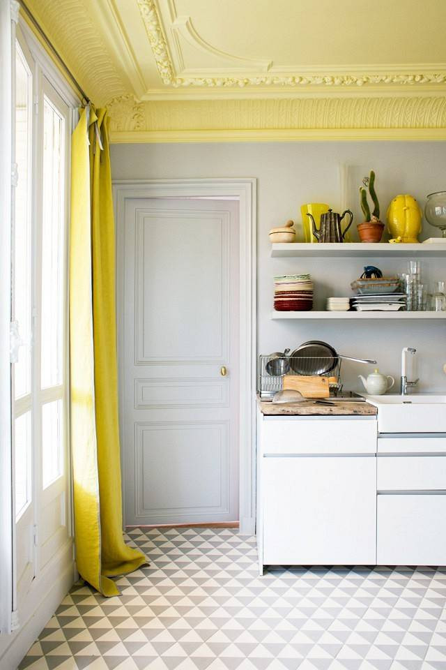 yellow kitchen ceiling