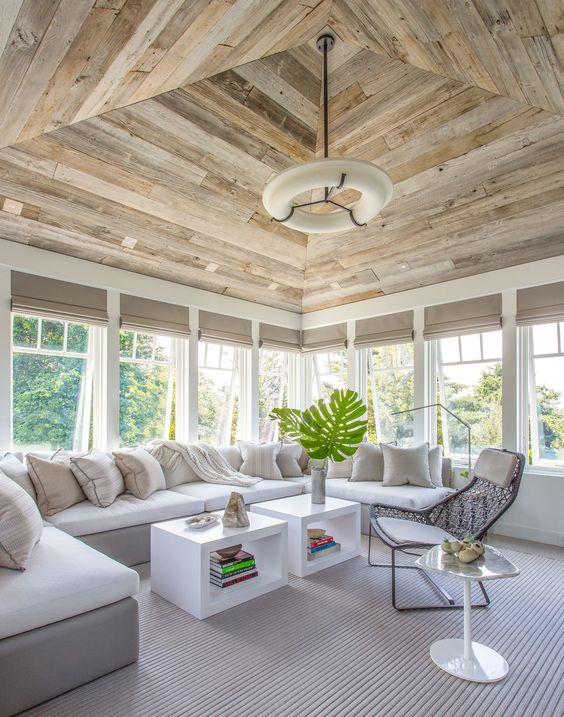 rustic wood on ceiling