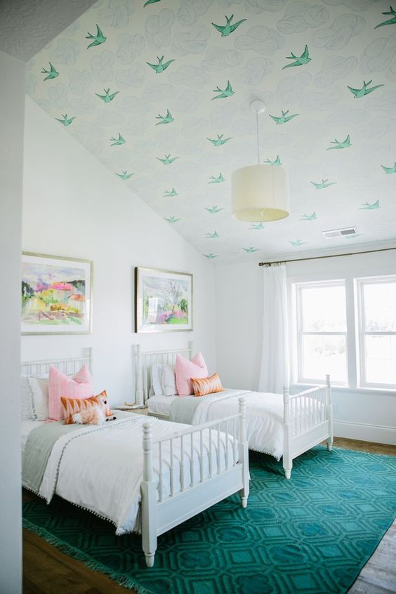 Bird wallpaper on ceiling