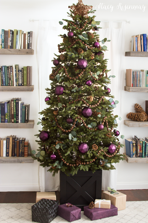 Christmas tree with purple ornaments