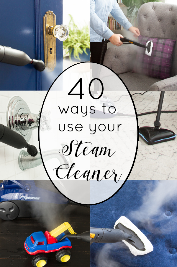 collage of ways to steam clean