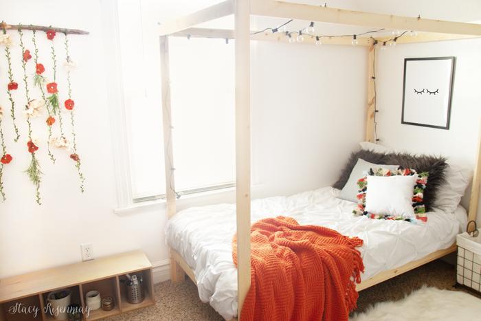 boho room with orange accents