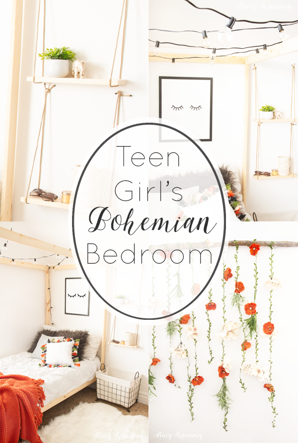 collage of photos of teen girl boho bedroom