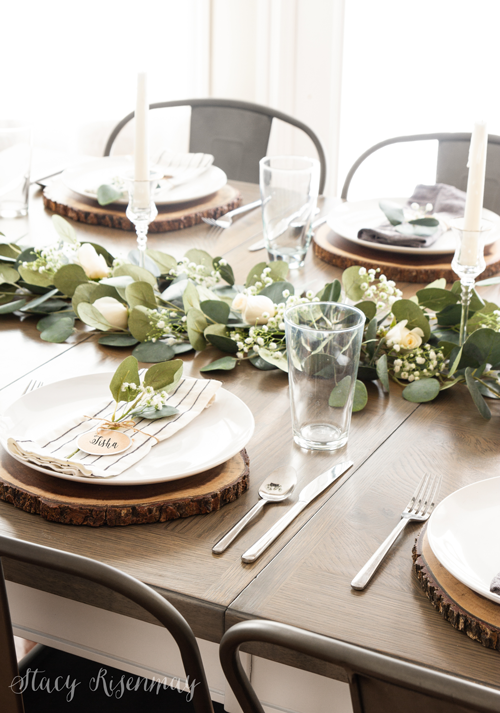 farmhouse table with metal chairs