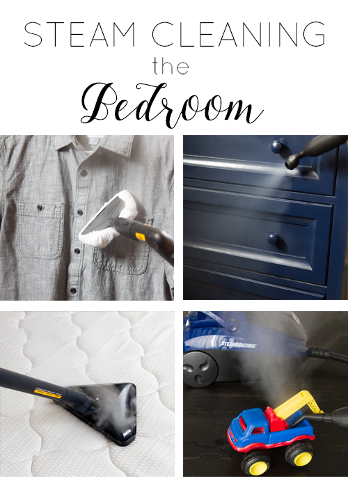 photo collage of steam cleaning in the bedroom