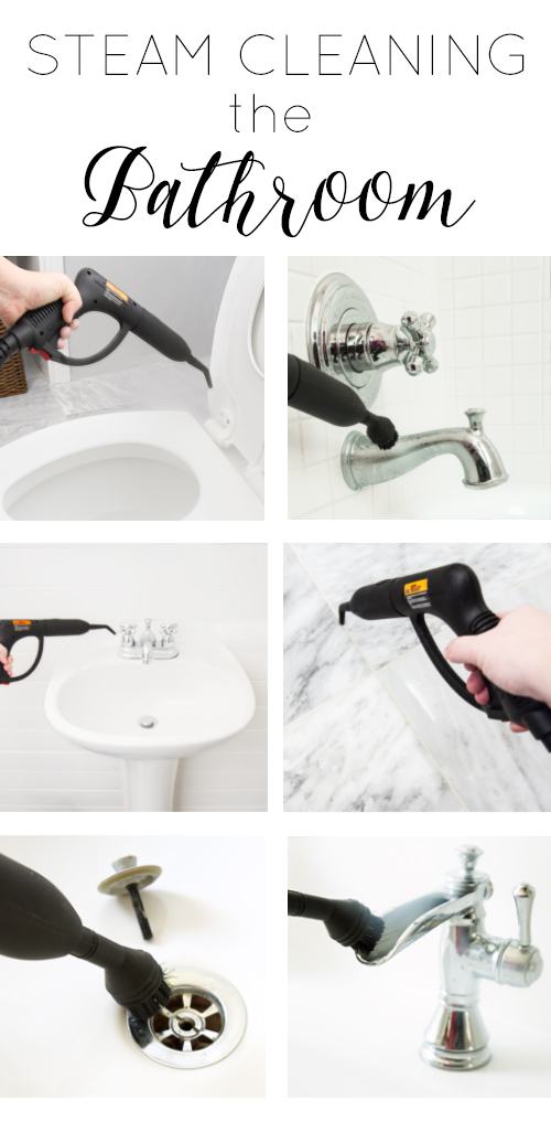 collage of photos of steam cleaning in the bathroom