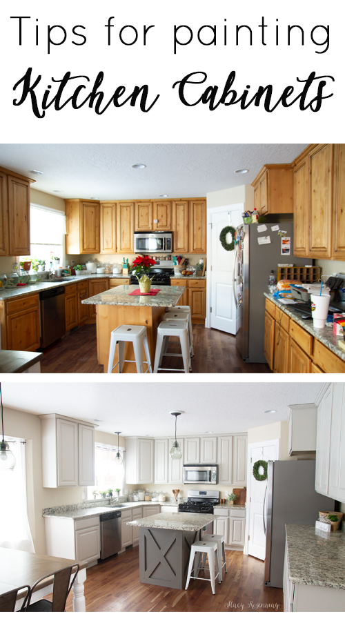 before and after photo of kitchen makeover