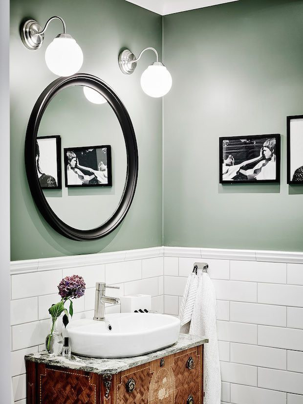 sage green walls in bathroom