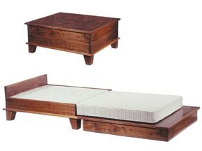 Coffee table that turns into a bed