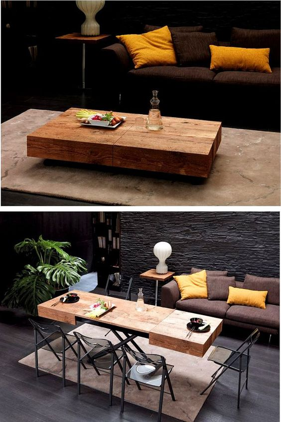 Coffee table that turns into dining table