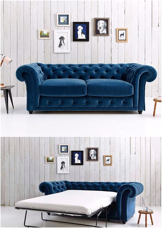blue velvet couch with sleeper sofa