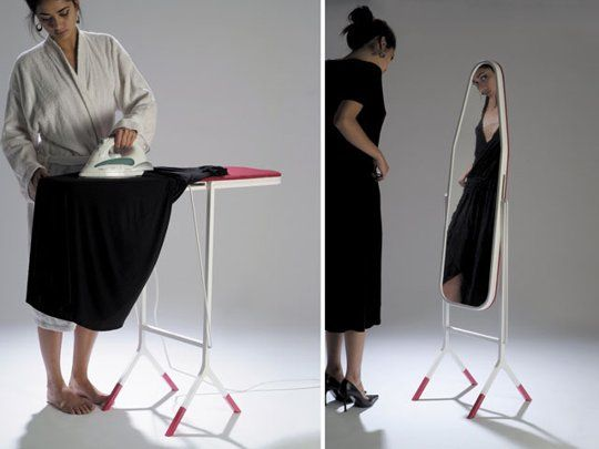 ironing board that turns into a mirror