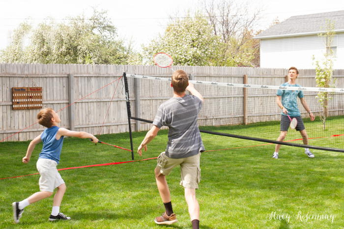 boys playing badminton