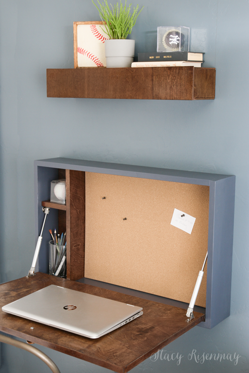 Diy Fold Down Desk Stacy Risenmay - How To Make A Fold Down Table