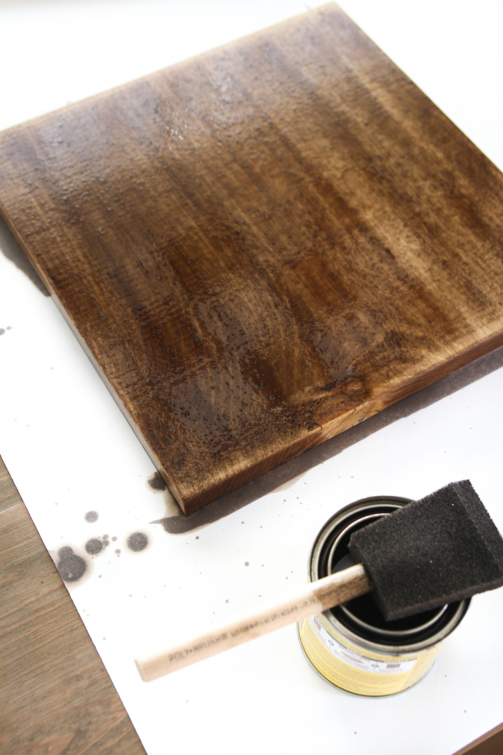 staining wood chargers