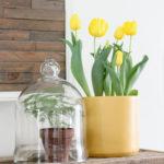 Yellow Spring Mantel Decor!