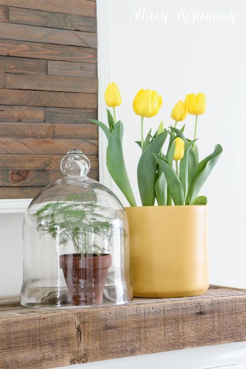 Yellow Spring Mantel Decor