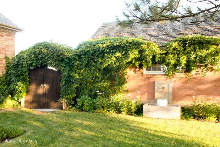 backyard fountain and gate